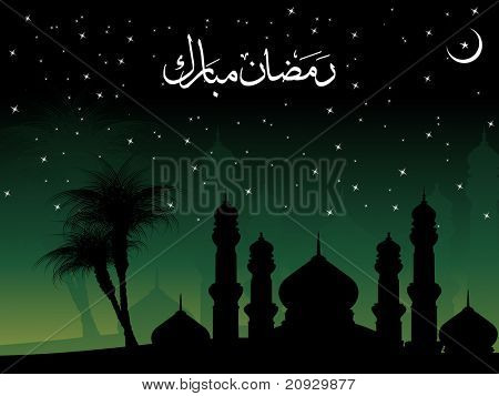 night background with mosque, tree silhouette