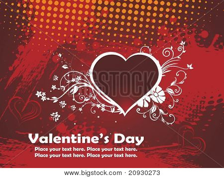 grungy texture background with decorated maroon heart