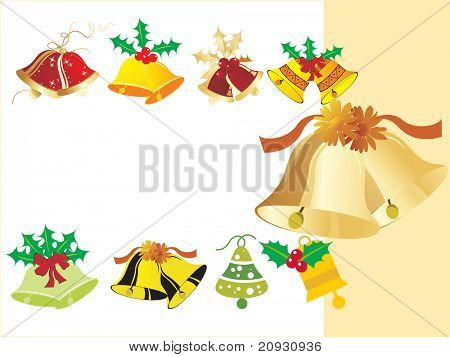 vector clip art illustration of Christmas bells and jingle bells with ribbons and bows