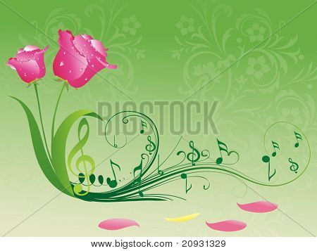 abstract seamless artwork background with rose bloom and musical notes