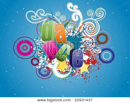 abstract colorful grunge background with artwork , dance