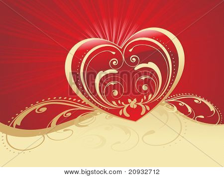 red rays background with artistic design heartshape