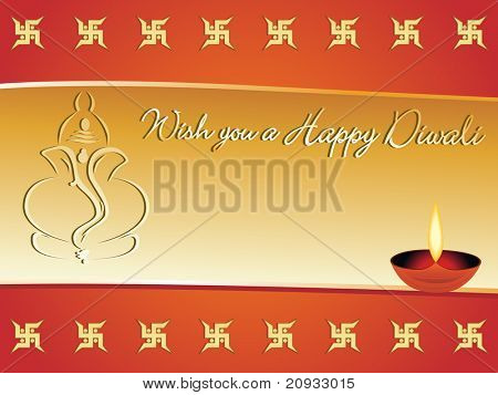 wish you a happy diwali greeting card, vector illustration
