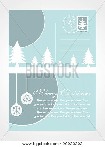 christmas post card with tree vector