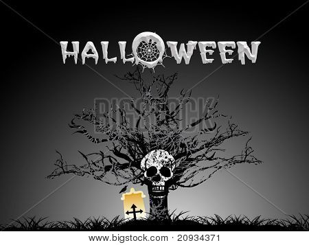 grave yard background with isolated tree, skull and grave