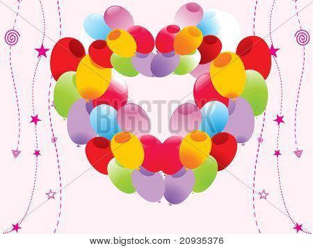 abstract background with colorful balloons pattern heart shape