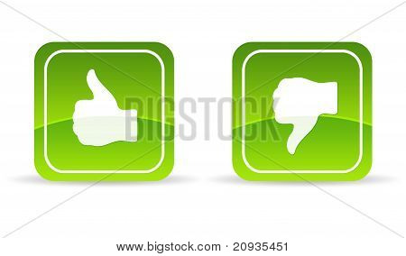 Green Thumbs Up And Down Icon