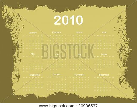 abstract grungy pattern calender for 2010, vector image