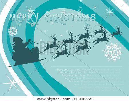 Seegrün Weihnachten Hintergrund mit Rentier und Sterne, Vektor-Karte