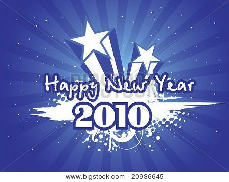 abstract blue rays background with grungy new year artwork