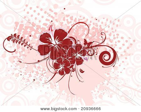 abstract circle background with grungy maroon hibiscus blossom