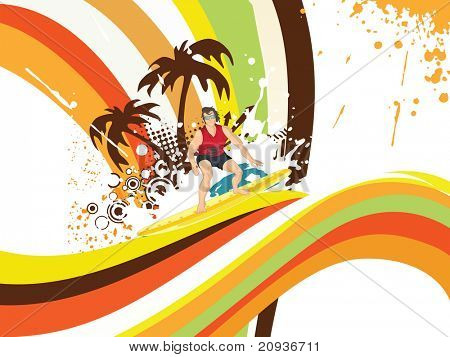 grungy tropical illustration with colorful stripes background, palm