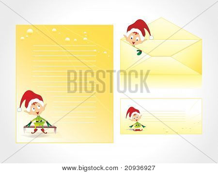 xmas letter head and envelope in yellow with cartoon kid