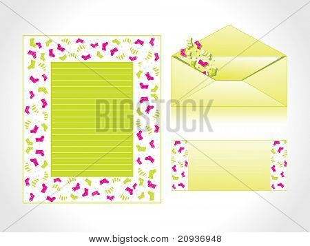 xmas letter head and envelope in green with santa socks