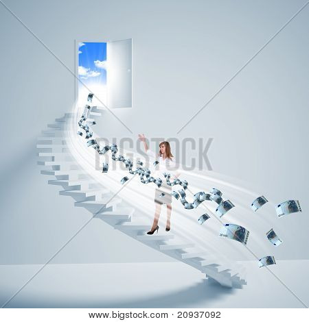 niña sube la escalera