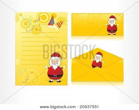 xmas envelope and letter head in yellow with santa