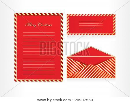 xmas envelope and letter head in red