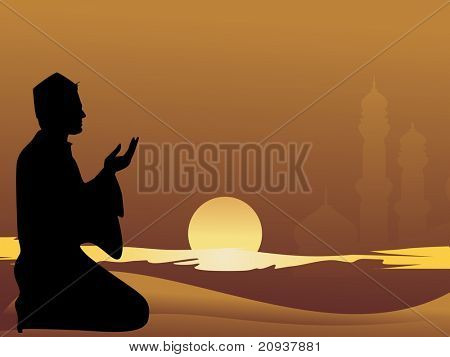 muslim man praying with sunset background
