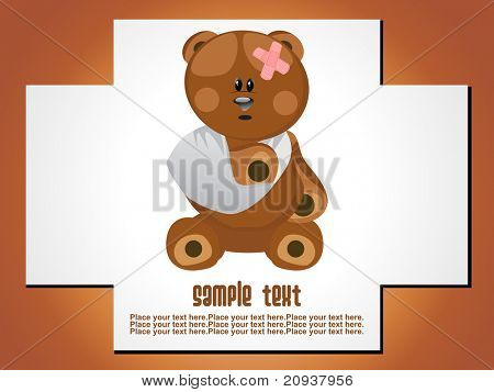 medical background with plus sign and patient bear