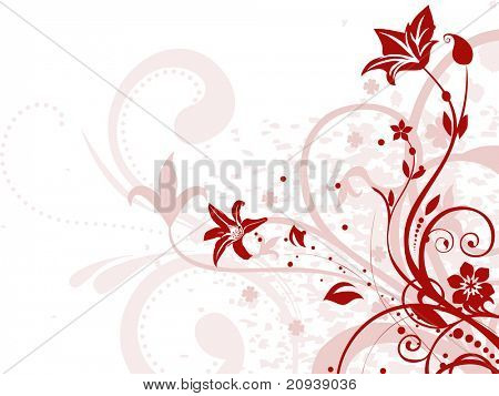 abstract background with dirty grunge, maroon floral
