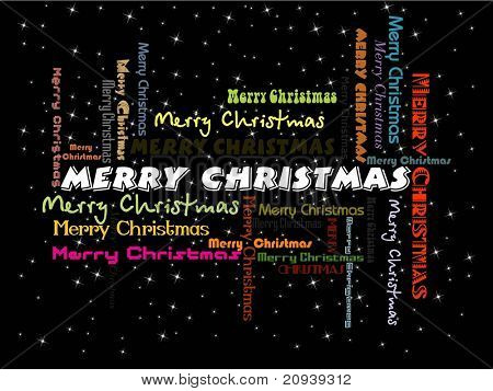 black twinkle star background with written colorful merry christmas
