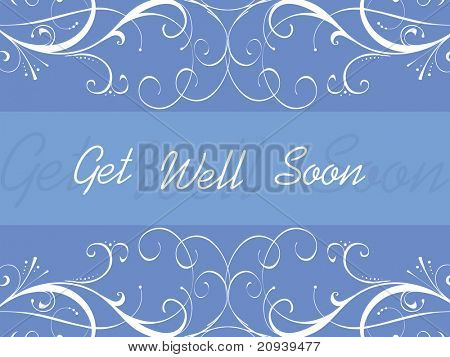 abstract blue floral pattern background for get well soon