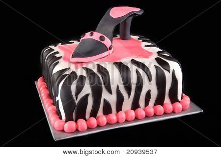 High Heel Shoe On Zebra Print Cake