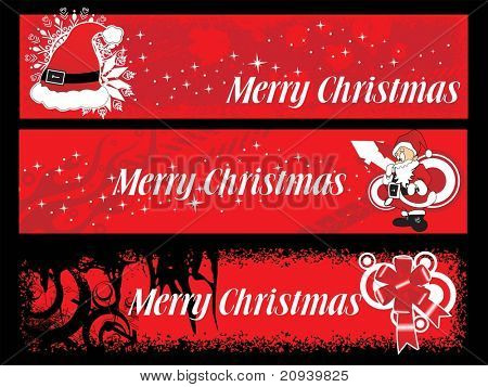 vector set of three banner for merry christmas