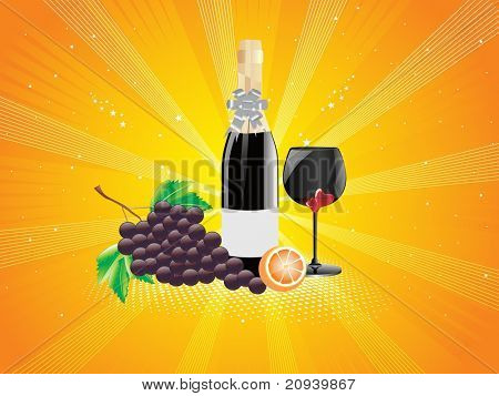abstract yellow rays background with wine glass, wine and fruit