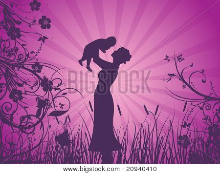 abstract purple rays background with mother silhouette with his child in garden