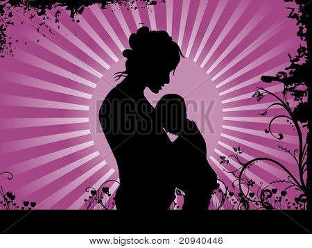 abstract rays background with grungy floral and silhouette illustration