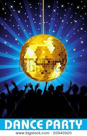 abstract twinkle star blue rays background with hanging disco ball, audience