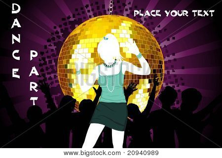 purple rays background with hanging disco ball, dancer silhouette