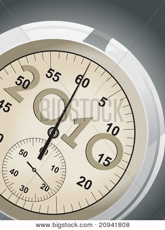background with isolated stopwatch for 2010, vector illustration