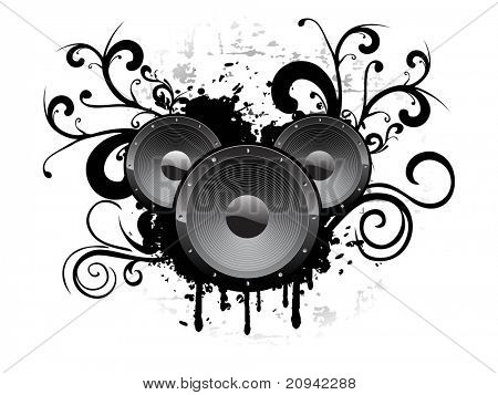 abstract background with grungy vinyl and artwork