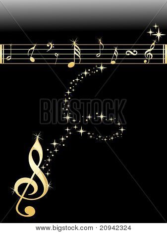 shiny golden musical notes with black background