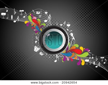 abstract dotted background with isolated button, musical notes