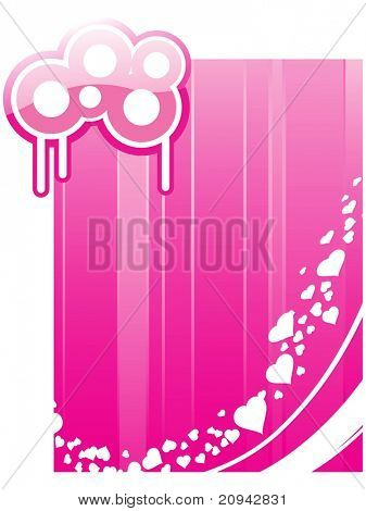 abstract pink background with white hearts, grungy circle