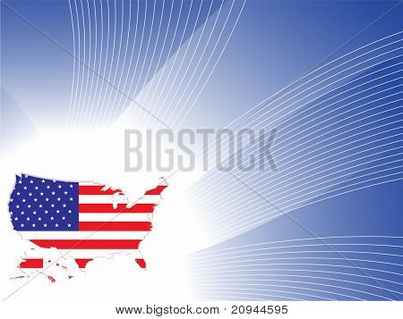 blue wave background with america flag map