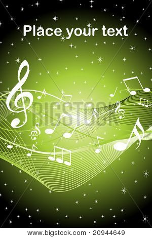 abstract green shiny star background with musical notes wave