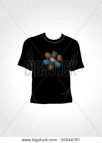 vector illustration of isolated tshirt with black background