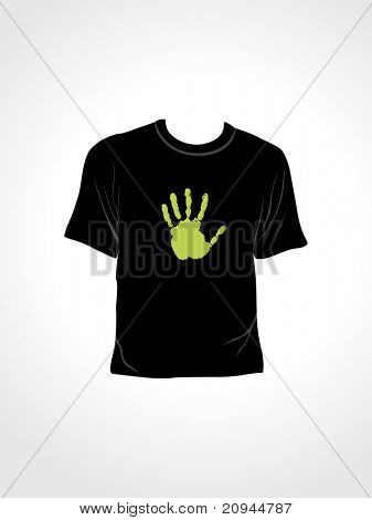vector illustration of isolated tshirt with green hand print