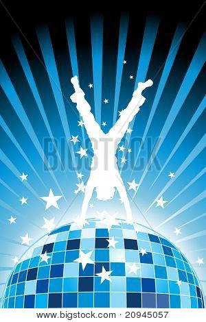 abstract blue rays background with youth silhouette stand on disco ball