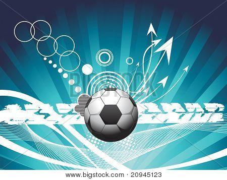 Futebol isolado com seta e amostra de texto