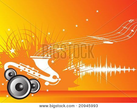 music fan vector illustration with orange background