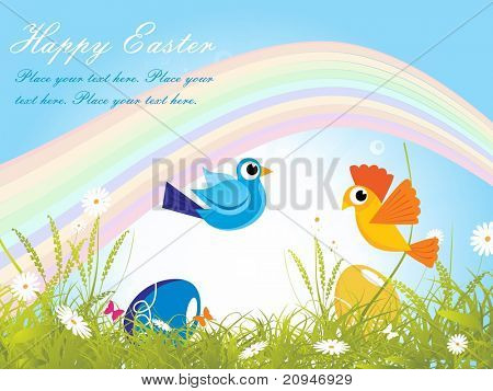easter day garden background with rainbow, egg and birds