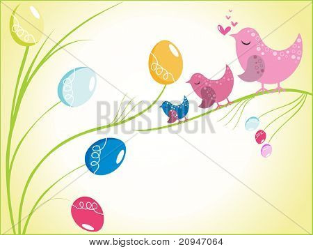 bird sitting on colorful egg tree branch, vector image