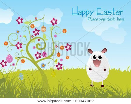 garden background with blossom tree and sheep illustration