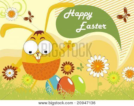 happy easter day scenery illustration, vector image