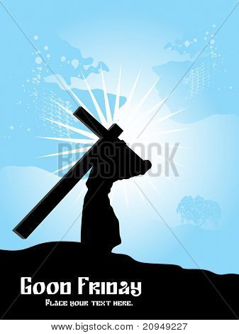 abstract blue rays background with jesus carries cross